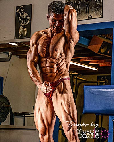 Dark Red Green Bodybuilding Posing Trunks