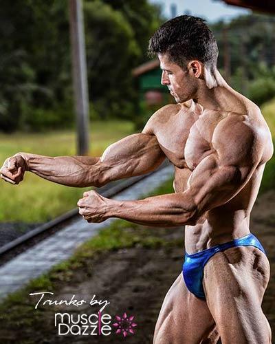 Royal Blue Green Bodybuilding Posing Trunks