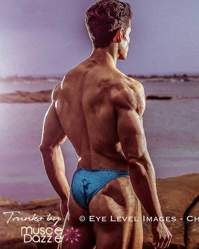Turquoise Green Bodybuilding Posing Trunks Pro Cut Back