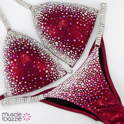 Red bikini competition suit CB596