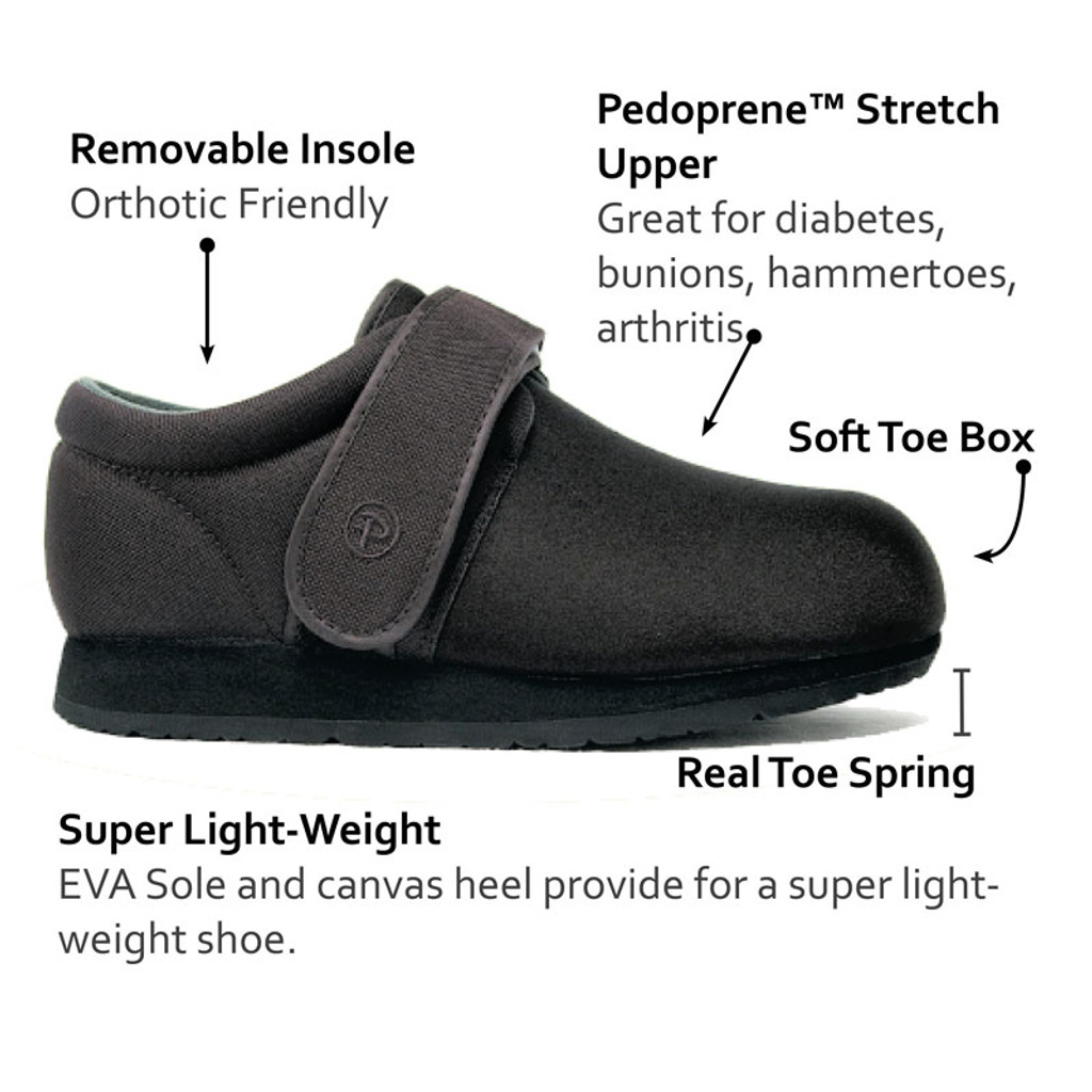 Pedors Classic Black  Stretch Shoes For Bunions