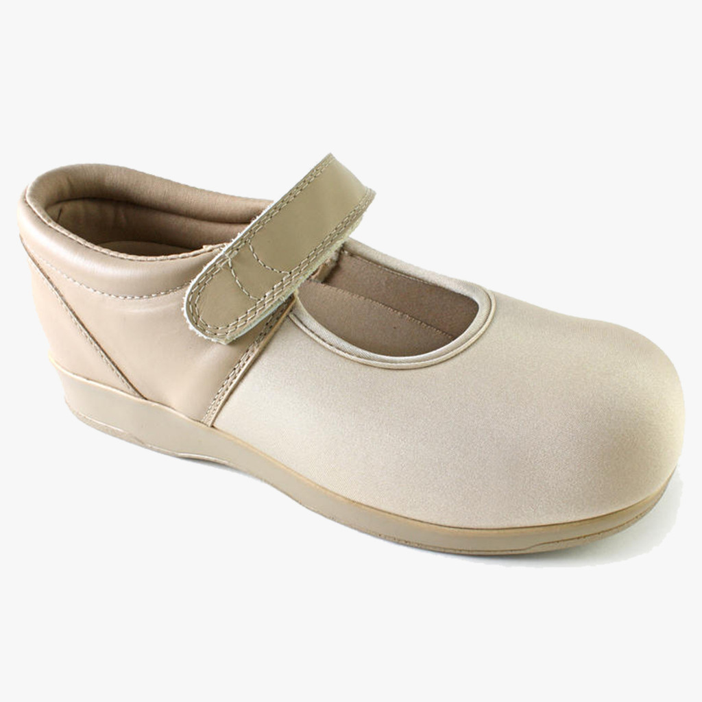 Pedors Stretch Mary Jane Beige Shoes For Swollen Feet