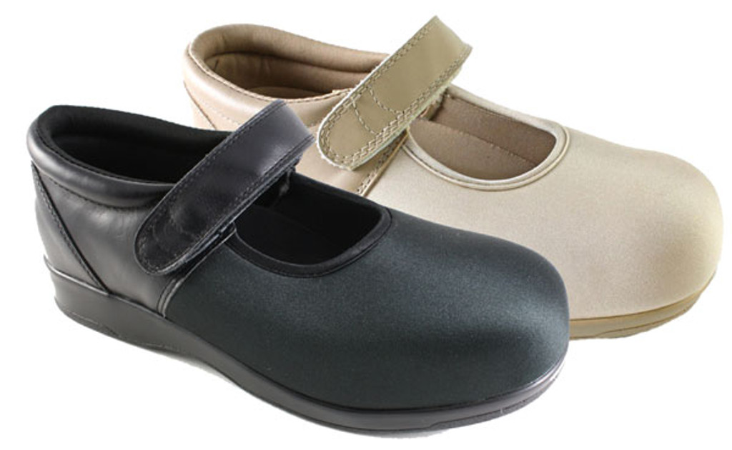 Pedors® Black Mary Jane and Beige Mary Jane Stretch Shoes For Swollen Feet