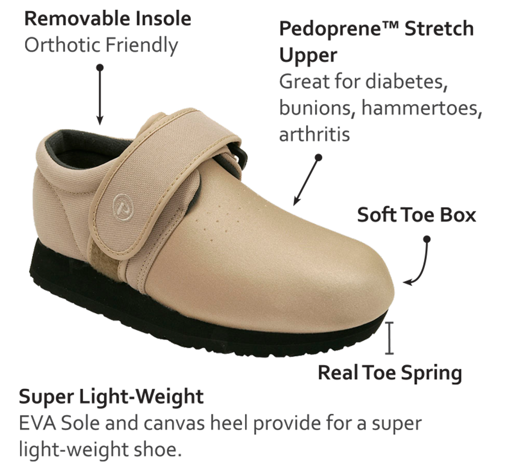 Pedors Classic Beige Stretch Shoes For Swollen Feet