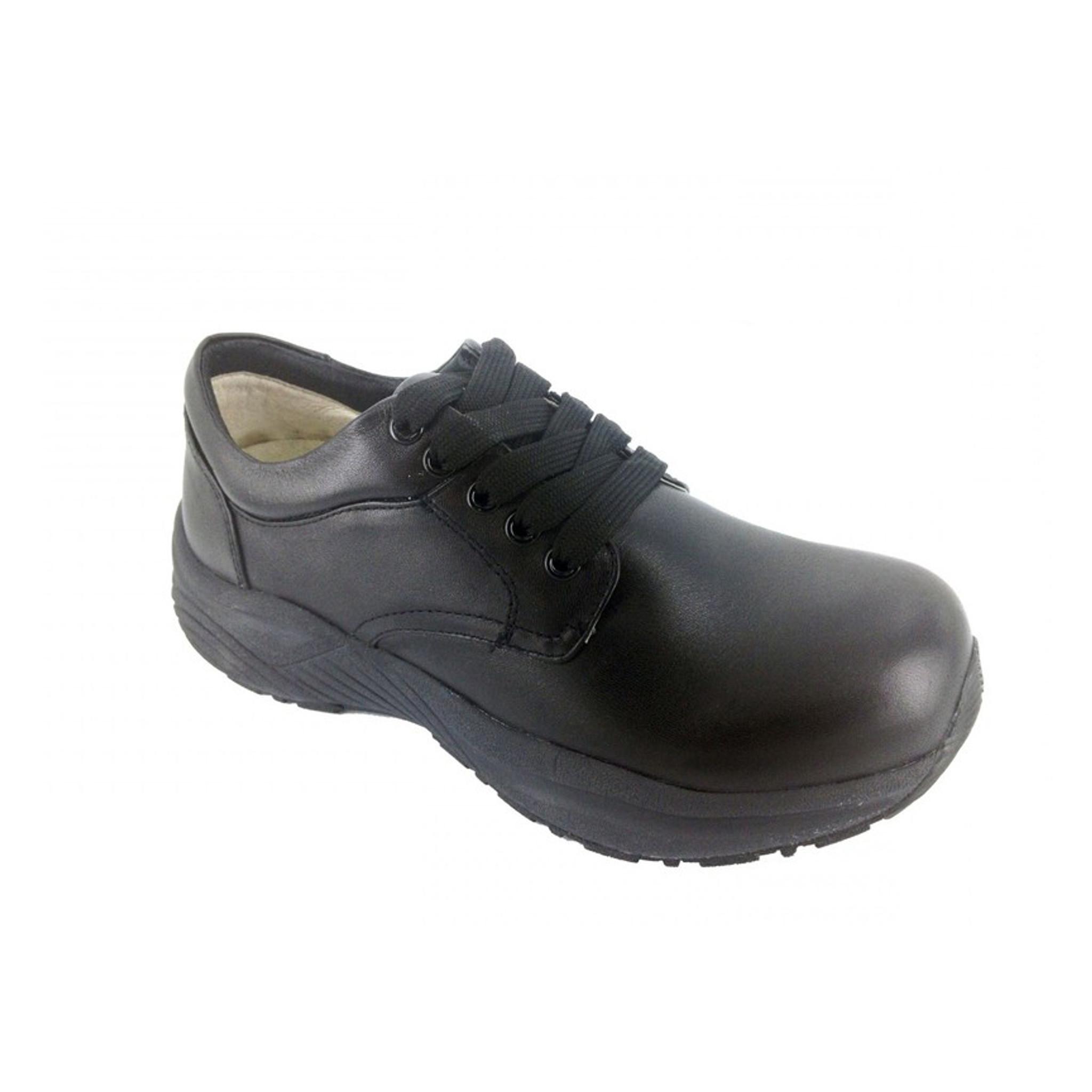 Genext Black Lace Up Orthopedic Shoes