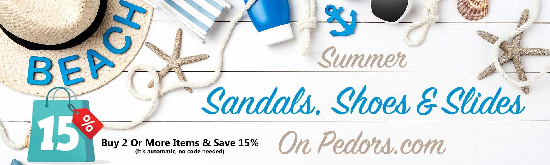 Summer Section on Pedors.com - Sandals, Shoes & Slides