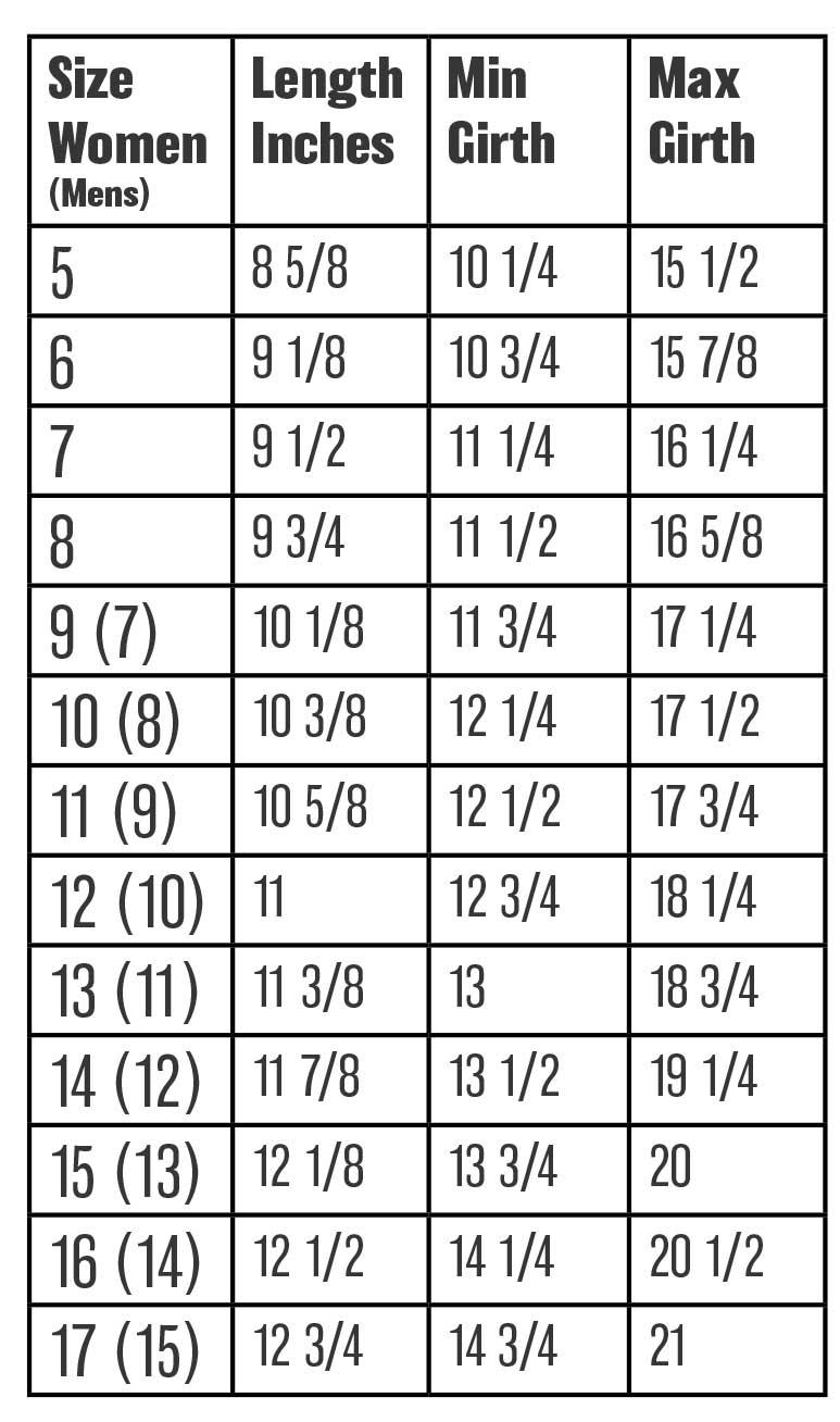 Pedors Wrap Sandal Size & Girth Chart