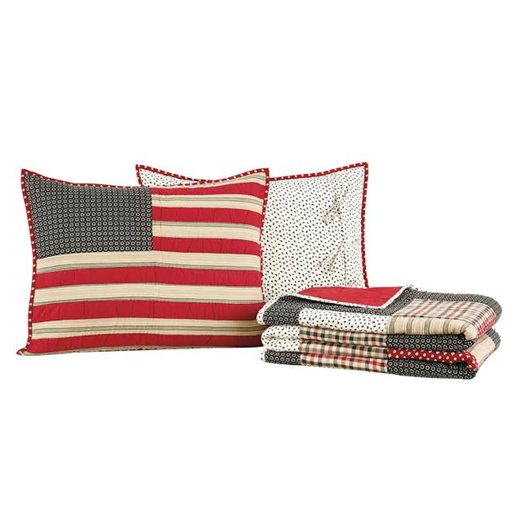 Victory Quilt Set Folded with Pillow Shams