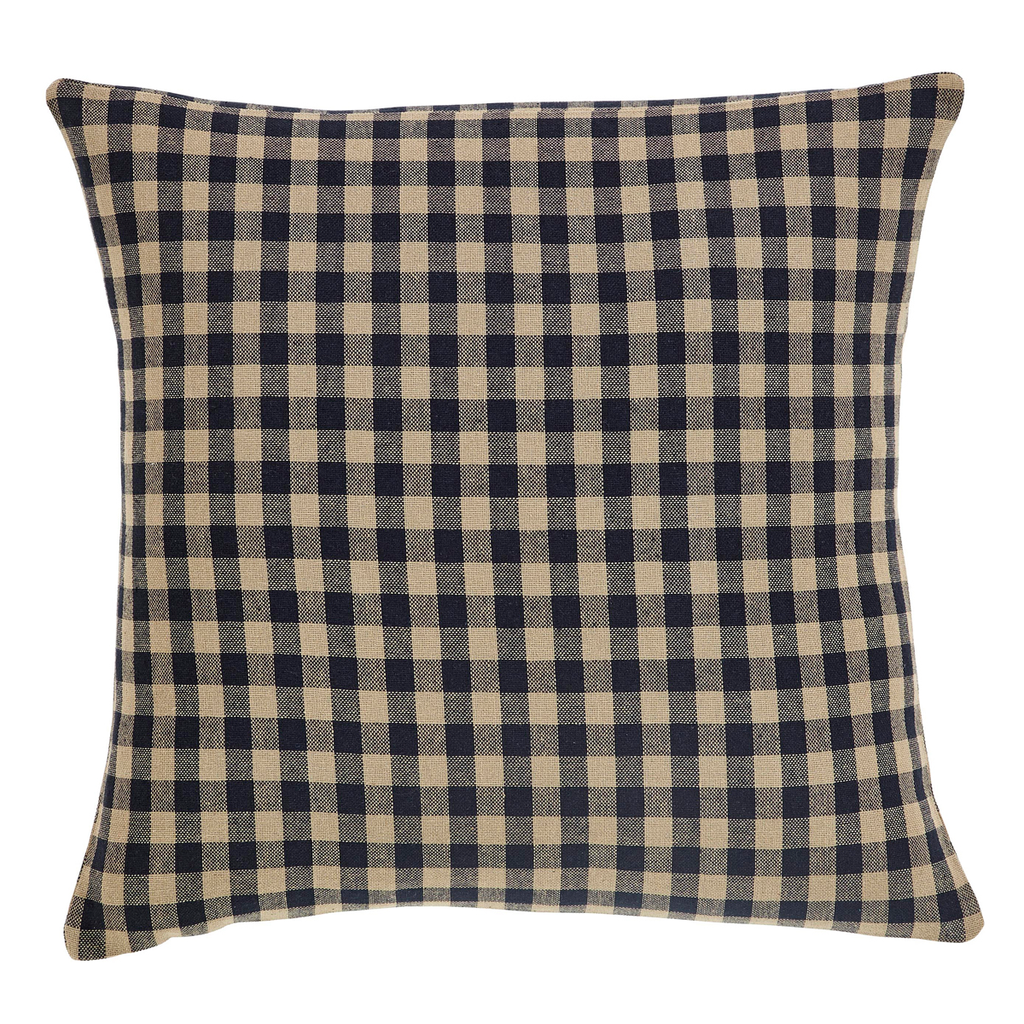 Black Check Fabric Toss Pillow
