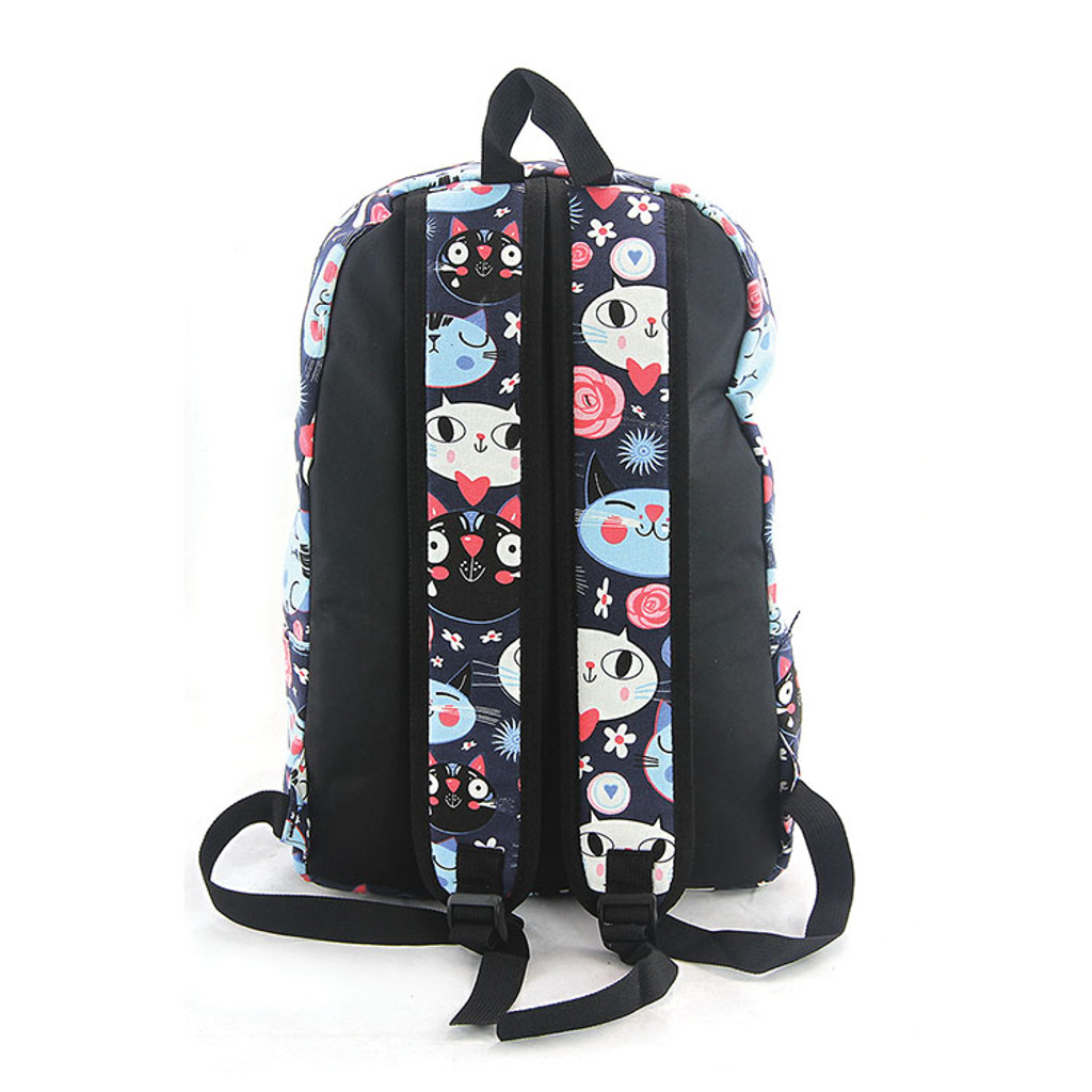 Kitty Cat Face Canvas Backpack