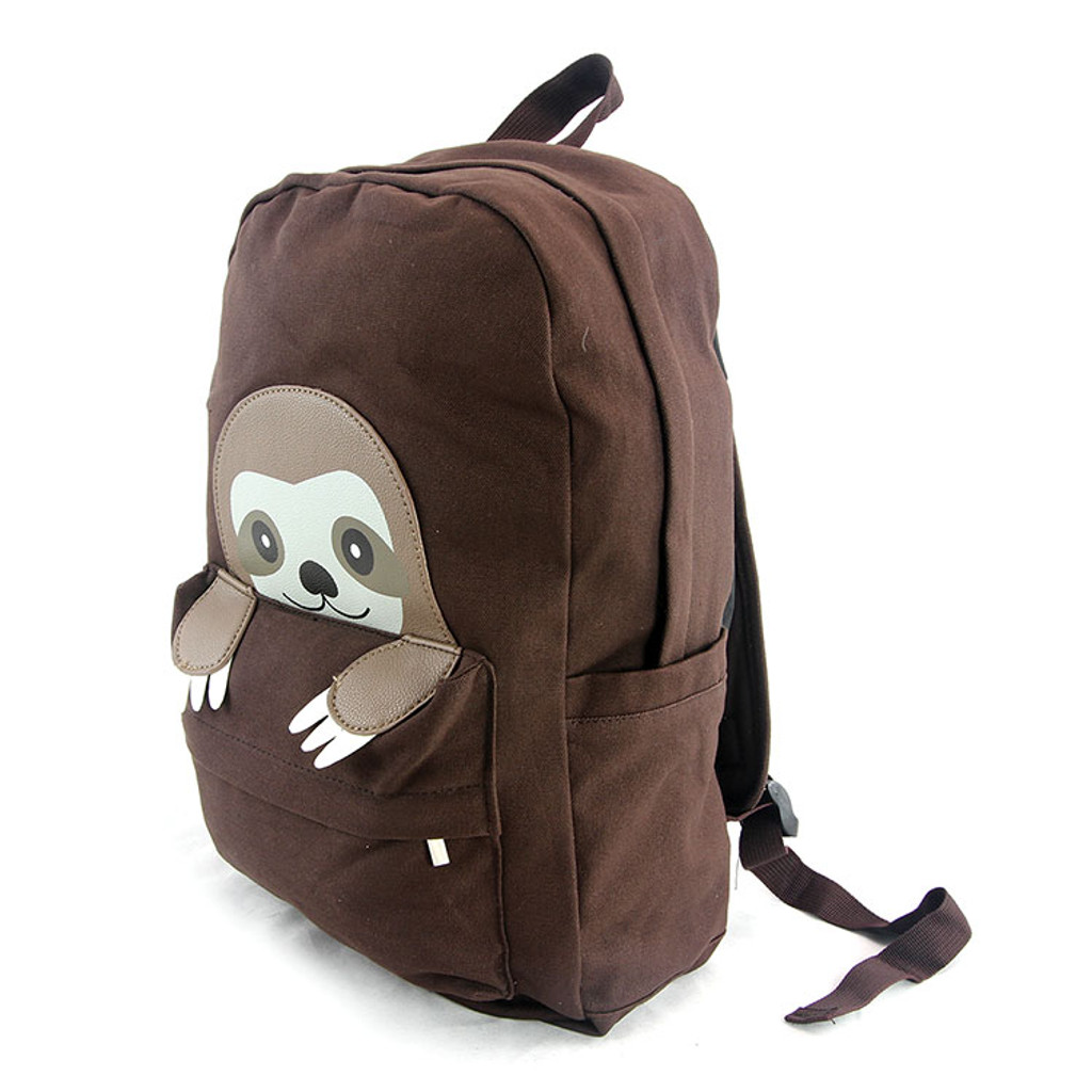 Baby Sloth Brown Canvas Backpack Angled