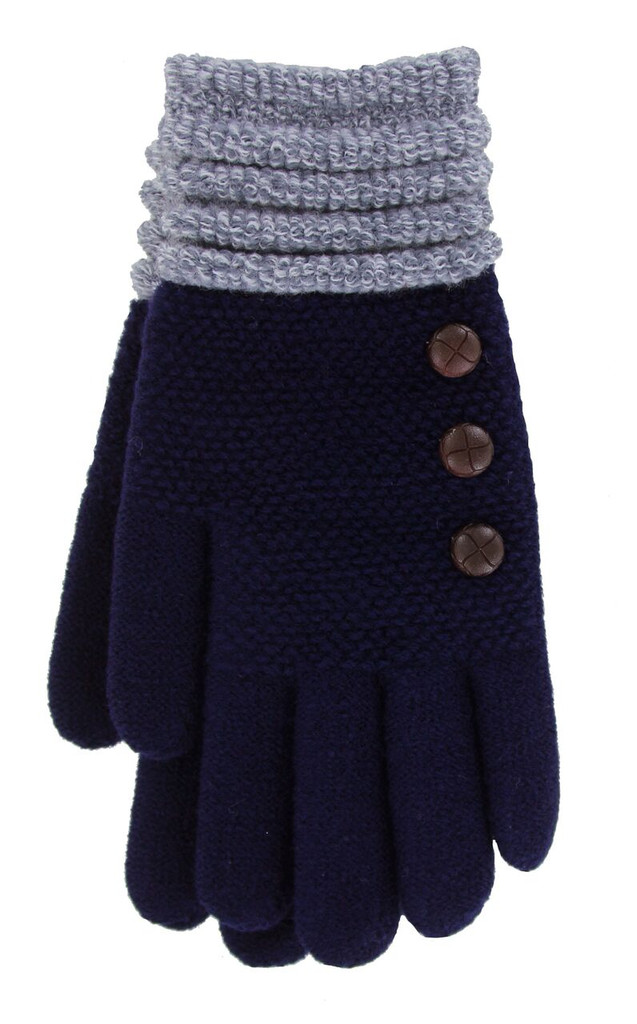 Navy with Gray Cuff glove