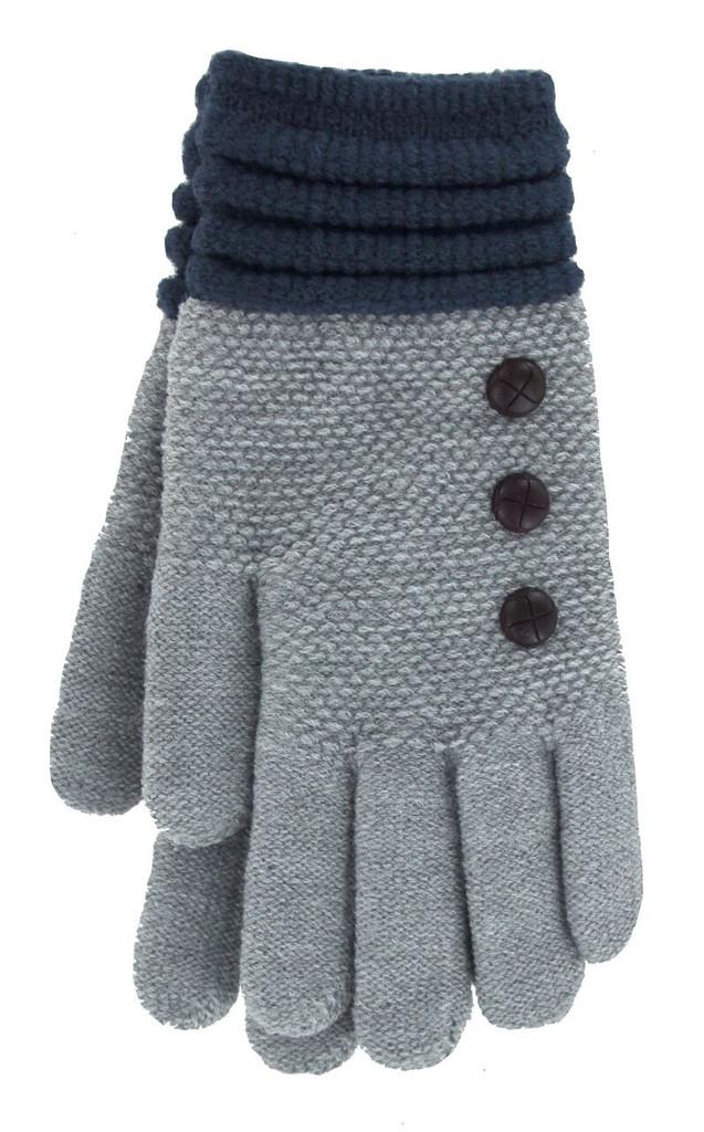 Light Gray with Navy Cuff glove