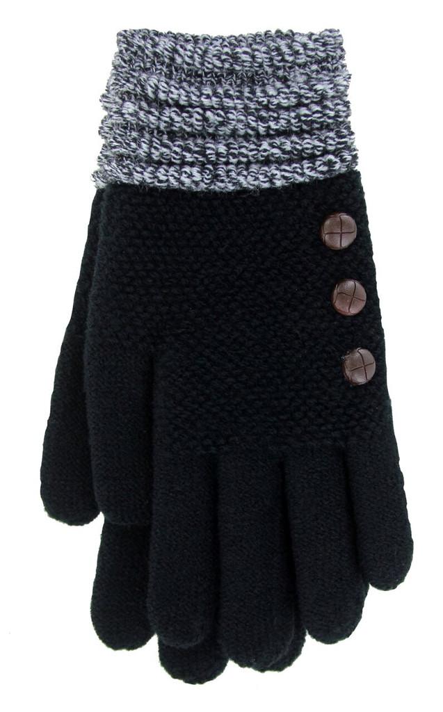 Black with Black & White Cuff Glove