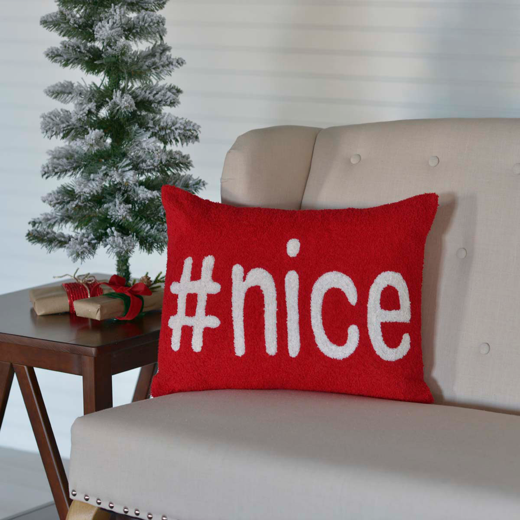 #nice Christmas Toss Pillow