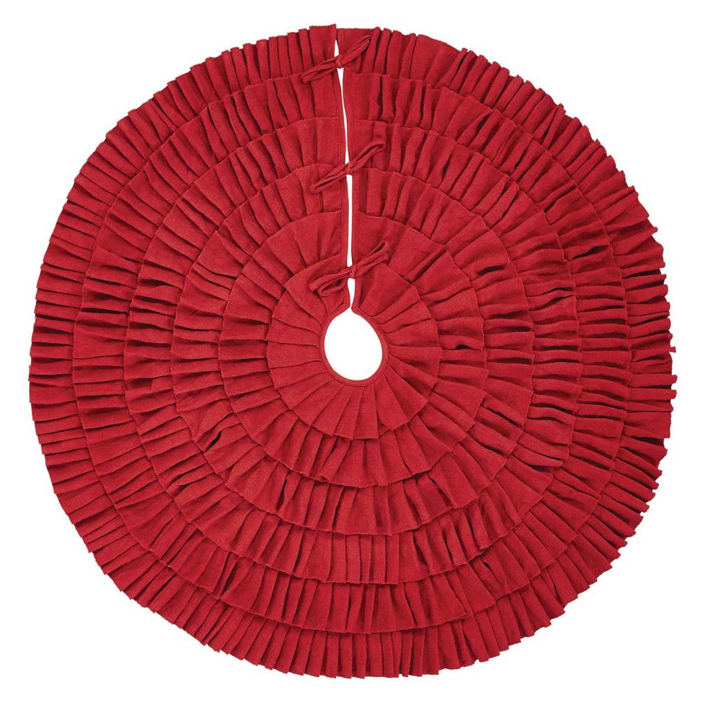 Barn Red Ruffled Burlap Tree Skirt