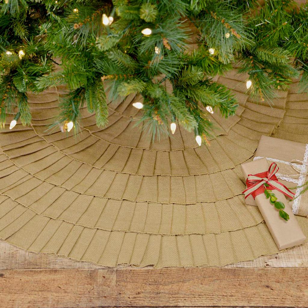 Natural Ruffled Burlap Tree Skirt