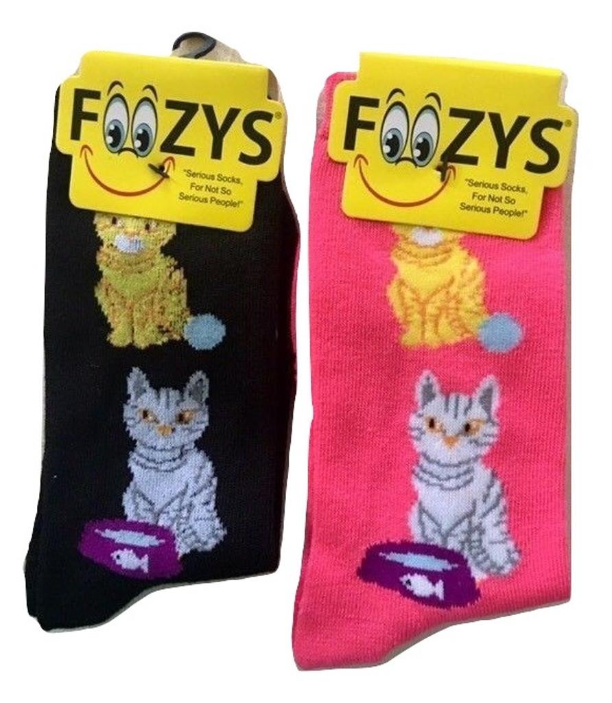 Cat with food dish & yarn ball Socks