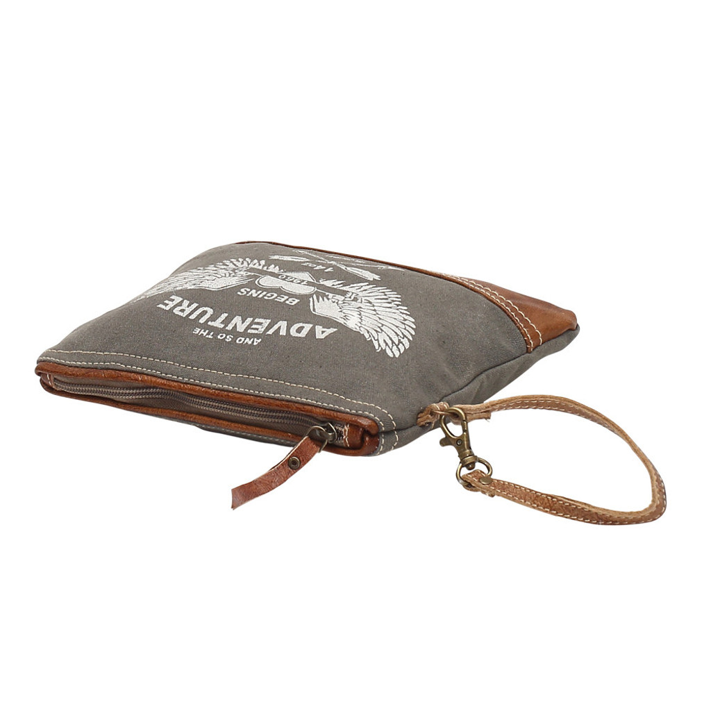 And the Adventure Begins Canvas Wristlet