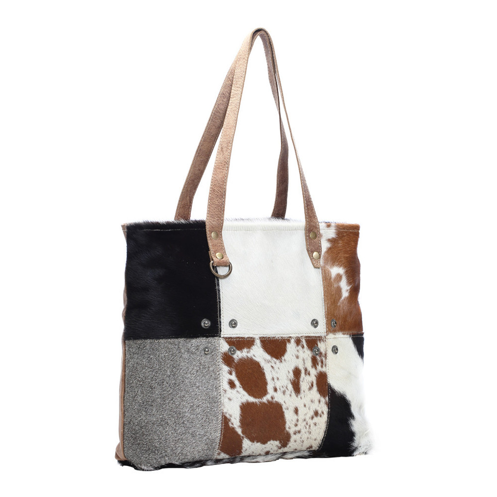 Patchwork Hairon Leather Tote Bag