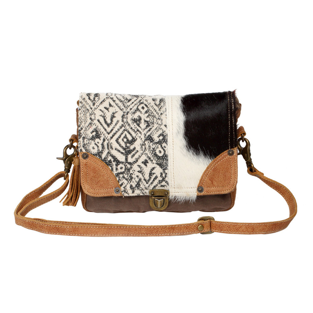 Carpet & Cowhide Messenger Bag