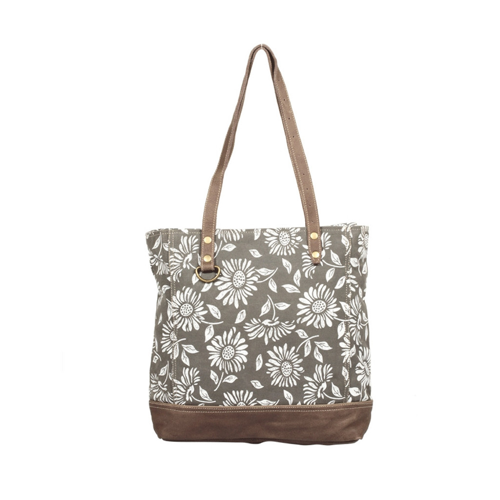 Floral Canvas & Leather Tote Bag