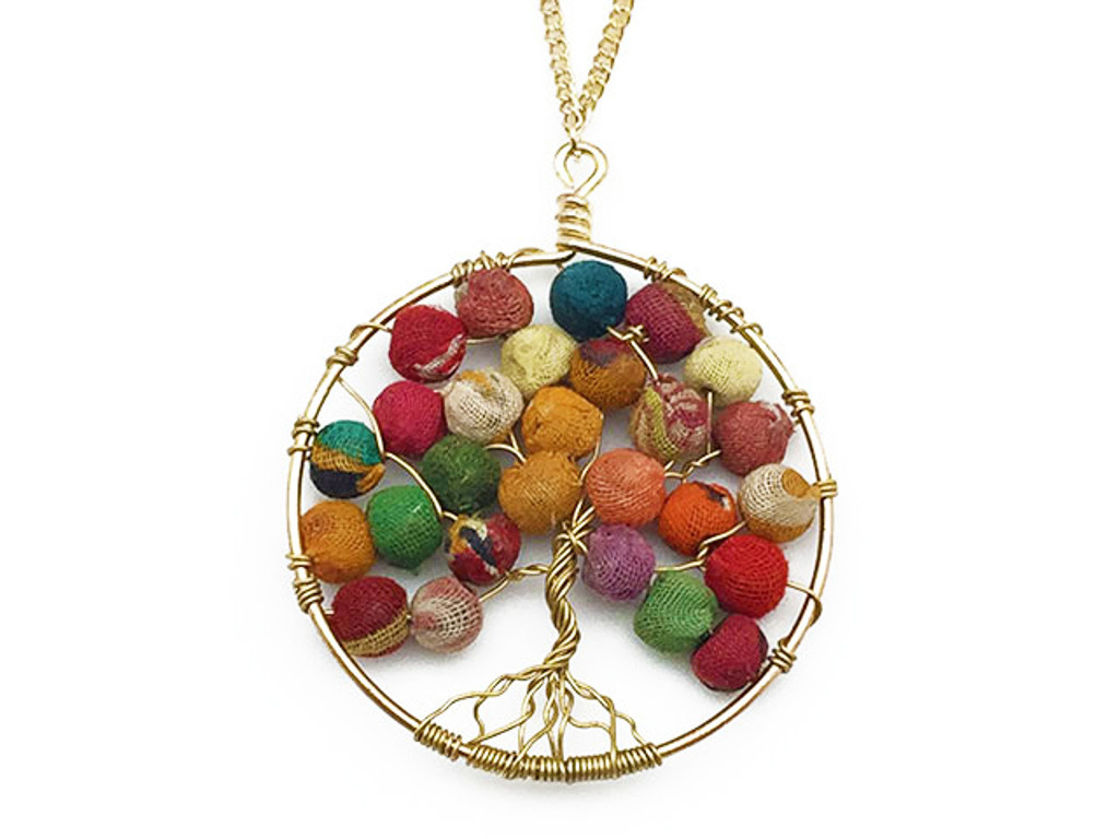 Goldtone Tree of Life Recycled Necklace