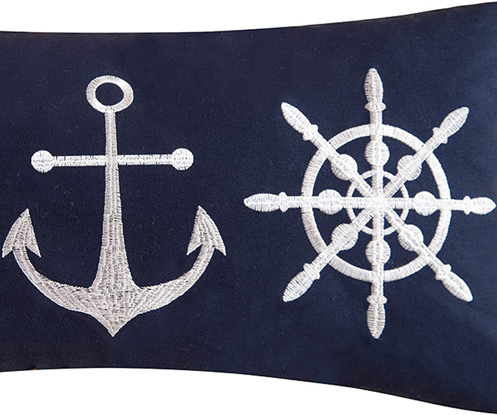 Sailor's Bay Navy & White Toss Pillow