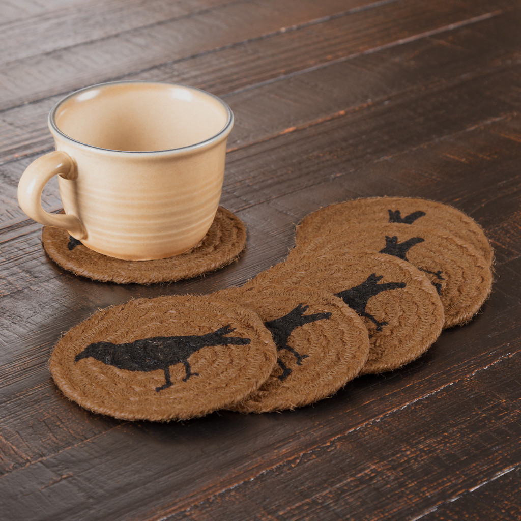 Heritage Farms Crow Jute Coasters - Set of 6