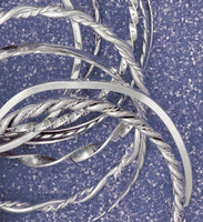 Bangle Bracelets in Silver-plate Fashion Jewelry