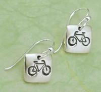 Bicycle Earrings in Sterling Silver
