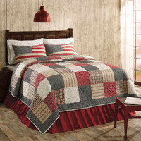 Victory 3 Piece Quilt Set with Pillow Cases & Red Bed Skirt