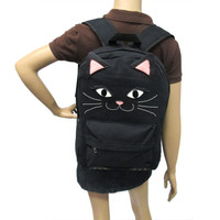 Black Kitty Canvas Backpack