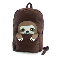 Baby Sloth Brown Canvas Backpack