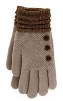 Taupe with brown cuff glove