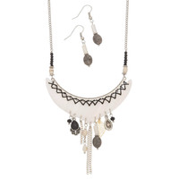 Black & White Shell & Bead Necklace & Earring Set