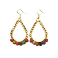 Saira Recycled Sari & Bead Earrings
