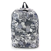 Grey Cat Canvas Backpack