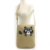 Peeking Raccoon Messenger Canvas Bag