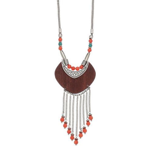 Turquoise & Coral Wooden Necklace