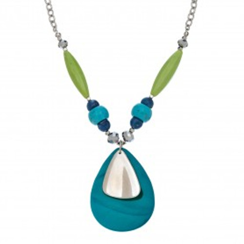 Teardrop Shell Necklace in turquoise