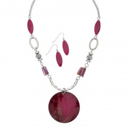 Fuchsia Round Shell Necklace & Earrings