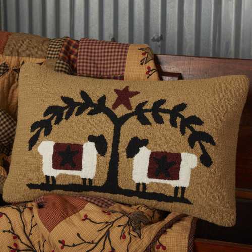 Heritage Farms Sheep and Star Hooked Throw Pillow