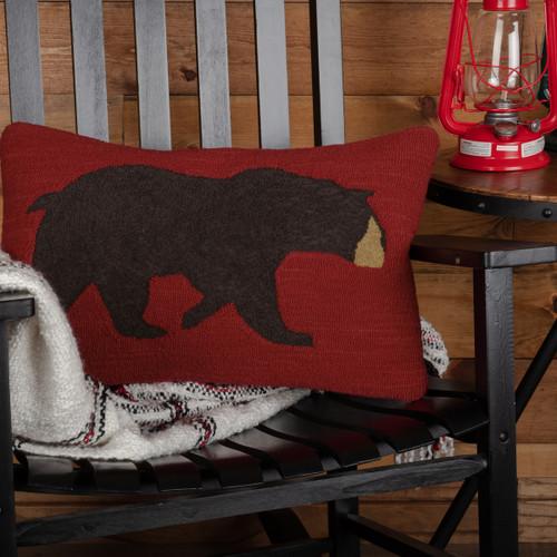 Wyatt Primitive Bear Hooked Pillow