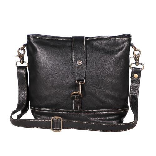 Executive Recycled Black Leather Shoulder Bag