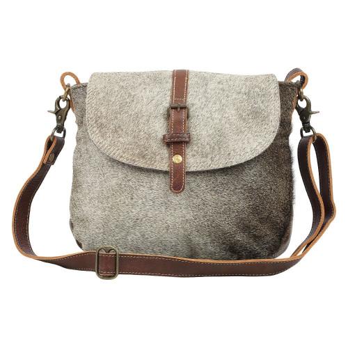 Overlap Cowhide & Leather Shoulder Bag