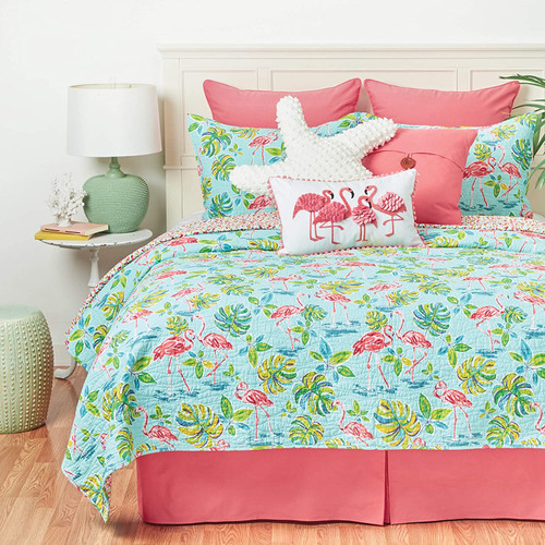 Flamingo Garden Coastal Quilt Set