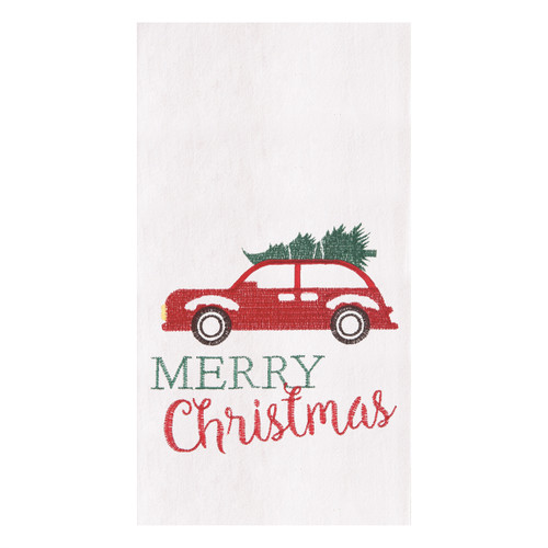 Holiday Car Flour Sack Kitchen Towel
