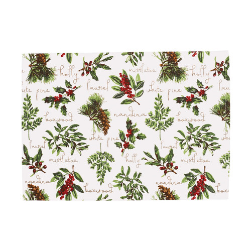Winter Botanical Retangular Placemats - Set of Six