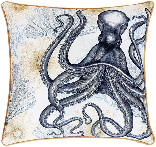 Ochre Octopus Square Throw Pillow - Beach look